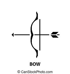 bow icon, black vector sign with editable strokes, concept illustration