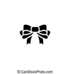 bow icon, vector illustration, black sign on isolated background