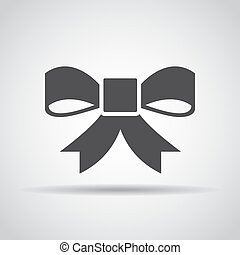 Bow icon with shadow on a gray background. Vector illustration
