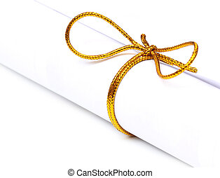 Bow knot on a scrolled paper