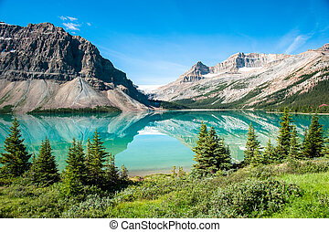 Bow Lake Panorama at the Icefield Parkway in Banff National ...