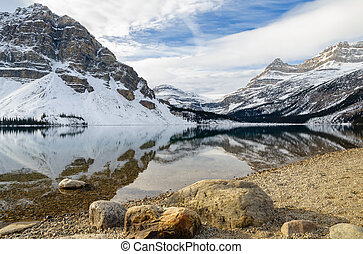 Bow Lake with Rocky mountain reflection in Banff National Park, Alberta, canada