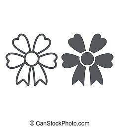 Bow line and glyph icon, party and decoration, gift knot sign, vector graphics, a linear pattern on a white background.