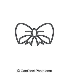 Bow Line Icon On White Background
