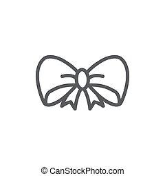 Bow Line Icon On White Background
