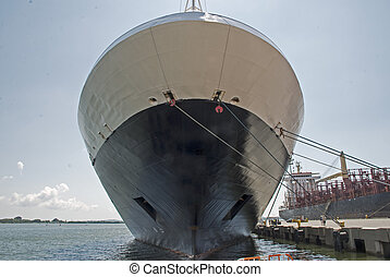 Bow of a docked cruiseship - Bow of a docked mid-sized...