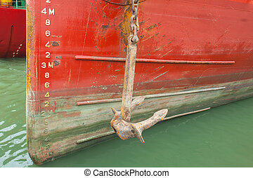bow of a ship with draft scale numbering