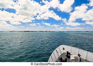 Bow of Ship Through Aqua Water