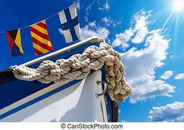 Bow of the Boat on Blue Sky - Bow of the boat adorned with...