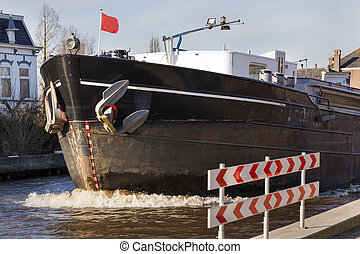 Bow on a barge on the river in Boskoop - Bow on a barge on...