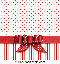 Bow on red and white background