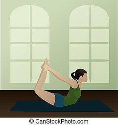 Bow Pose, Dhanurasana - Young woman practicing yoga Bow...