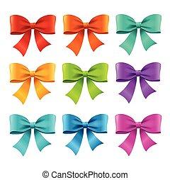 Bow Ribbon Colorful Set. Vector