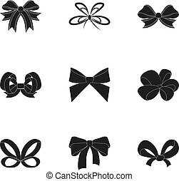 Bow, ribbon, decoration, and other web icon in black style. ...