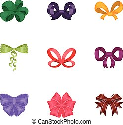 Bow, ribbon, decoration, and other web icon in cartoon style...