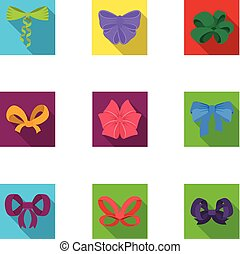Bow, ribbon, decoration, and other web icon in flat style. ...