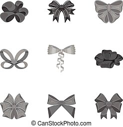Bow, ribbon, decoration, and other web icon in monochrome ...