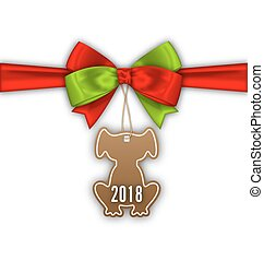 Bow Ribbon with Tag Dog, Label with 2018