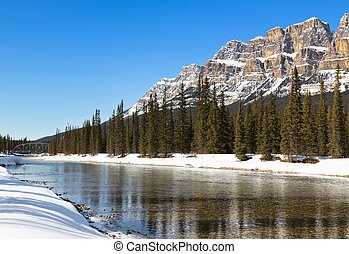 Bow River and Castle Mountain