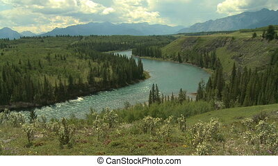 Bow River valley and the Canadian Rockies in Alberta, Canada