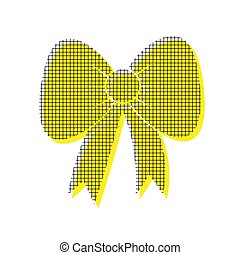 Bow sign illustration. Vector. Yellow icon with square pattern d