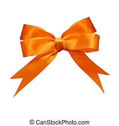 Bow - Orange double loops bow and ribbon isolated on white...
