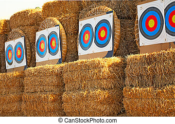 bow targets in a row