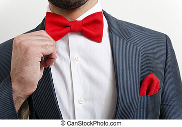 Businessman in a suit with red handkerchief and bow tie