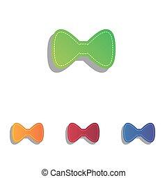 Bow Tie icon. Colorfull applique icons set.