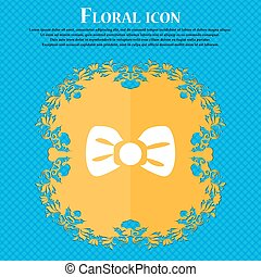 Bow tie icon sign. Floral flat design on a blue abstract background with place for your text. Vector