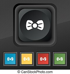 Bow tie icon symbol. Set of five colorful, stylish buttons on black texture for your design. Vector