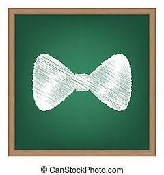 Bow Tie icon. White chalk effect on green school board.
