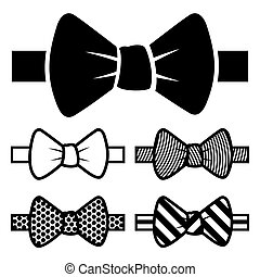 Bow Tie Icons Set - Bow-tie Black Icons Set on White...