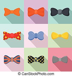 Bow tie icons set, flat style