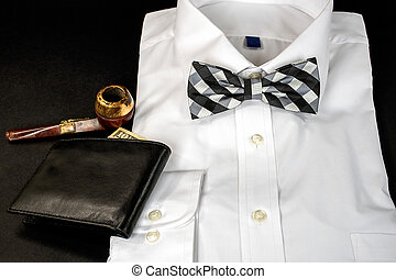 bow tie on folded on white shirt