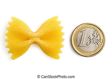 bow tie pasta and one euro coin on white background