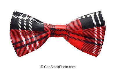 Bow tie - Red black plaid bow tie isolated on white
