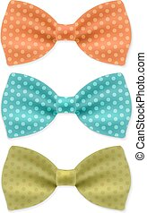 Bow Tie Set With Gradient Mesh, Vector Illustration