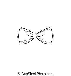 Bow tie sketch icon.
