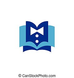 bow tie with book logo icon vector