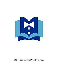 bow tie with book logo icon vector
