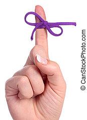 bow-tied, promemoria, contiene, cordicella, dito
