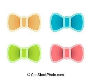 bow-ties, mód, állhatatos, karikatúra, vektor