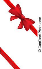 bow., vetorial, arco, feriado, fita, decoração, isolado, present., vermelho, elemento, desenho, cartão, presente