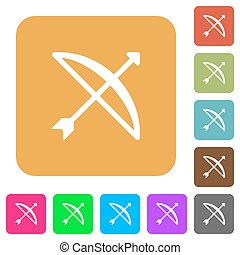 Bow with arrow rounded square flat icons