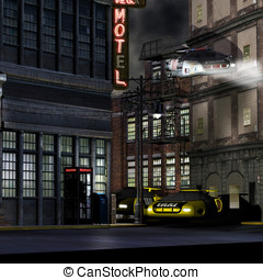 Bowery in Future - Police hover car, fly\'s down a deserted...