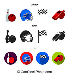 Bowl and bowling pin for bowling, protective helmet for playing baseball, checkbox, referee, whistle for coach or referee. Sport set collection icons in cartoon, black, flat style bitmap symbol stock illustration web.