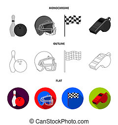 Bowl and bowling pin for bowling, protective helmet for playing baseball, checkbox, referee, whistle for coach or referee. Sport set collection icons in flat, outline, monochrome style bitmap symbol stock illustration web.