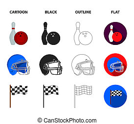 Bowl and bowling pin for bowling, protective helmet for playing baseball, checkbox, referee, whistle for coach or referee. Sport set collection icons in cartoon, black, outline, flat style bitmap symbol stock illustration web.
