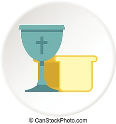 Bowl and bread icon circle - Bowl and bread icon in flat...